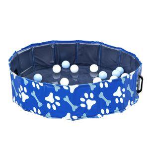 PawHut Hundebadewanne Hundepool Badewanne Swimmingpool Wasserbecken für Hunde und Katzen faltbar Ø80 x 20H cm
