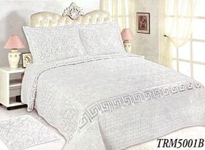 3-Teilige TAGESDECKE BETTÜBERWURF DECKE DOPPELBETT BETTGARNITUR 220cm x 240cm + 2 KISSENBEZÜGE 50cm x 70cm in Weiß (TRM5001B)