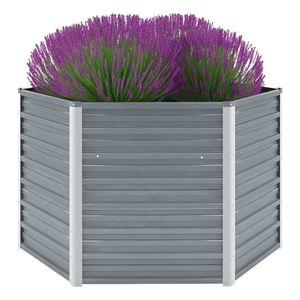 Garten-Hochbeet Verzinkter Stahl 129x129x77 cm Grau -Pflanzbeet ,Blumenkasten ,Frühbeet