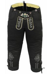 Damen Trachten Kniebundhose Jeans Hose kostüme mit Hosenträgern Schwarz, Größe:42