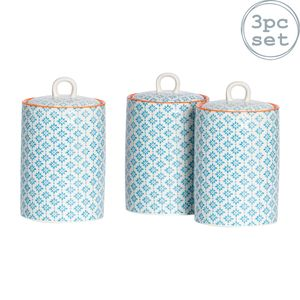 Nicola Spring 3pc Hand Printed Tee Kaffee Zucker Kanister Set - Porzellan Küche Storage Kanistern mit Seal - Blau - 1L