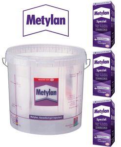 3x Metylan Spezial Kleister 200g + Tapeziereimer