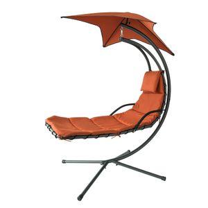 SoBuy OGS39-ZG Schwebeliege mit Sonnenschirm Relaxliege Schaukelliege Hängesessel Sonnenliege Belastbarkeit 120kg Ziegelrot