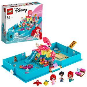 LEGO 43176 Disney Princess Arielles Märchenbuch, Abenteuer-Spielset mit Arielle der kleinen Meerjungfrau, tragbares Mini-Spielweltbuch