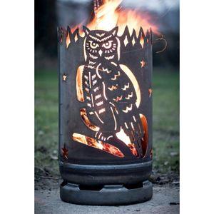 Feuertonne Eule Feuerstelle Feuersäule Garten