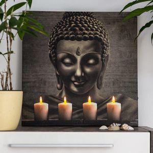 TIMER LED Bild Leinwand mit Buddha, Wandbild, Leuchtbild batteriebetrieben