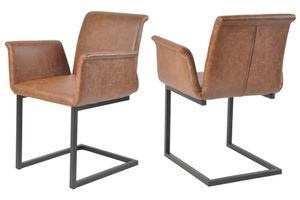 SalesFever Freischwinger Stuhl 2er Set | Bezug Kunstleder | Gestell Metall schwarz lackiert | geschwungene Arm- und Rückenlehne | B 51 x T 55 x H 85 cm | hellbraun