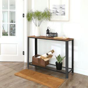 VASAGLE Konsolentisch mit Gitterablage Holzoptik stabil 101,5 x 80 x 35 cm Vintage Flurtisch Beistelltisch Konsole LNT80X
