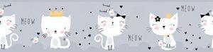 Lovely Kids selbstklebende Kinderzimmer Bordüre Meow Cats grau weiß schwarz 5,00 m x 0,155 m