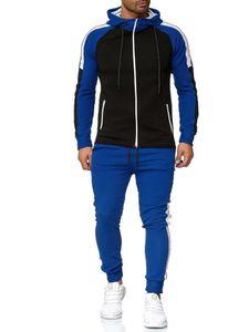 Farblich passender Sportanzug für Herren mit Sportbekleidung,Farbe: Blau ,Größe:XL