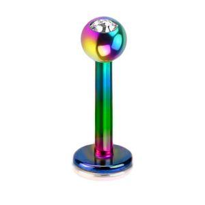 viva-adorno 1,2mm Lippen Piercing Stecker Edelstahl Kristall in verschiedenen Farben Tragus Labretstecker Z367,Regenbogen