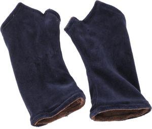 Handstulpen aus Samtstoff - Blau/coffee, Unisex, Baumwolle, Handstulpen