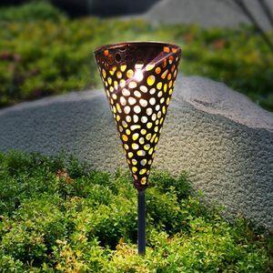 LED Solar Rasen Stake Nacht Licht Wasserdicht Yard Pfad Home Garten Solar Lampe Hohl Metall Kegel Garten Kunst Lampe