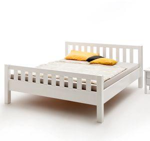 Komfortbett Buche massiv weiß lackiert mit Kopf- und Fußteil 100x200