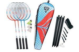 Talbot Torro Premium Badminton-Set 4-Fighter, hochwertiges Komplettset mit 4 Alu-Schläger leicht und handlich, 3 Federbälle, komplette Netzgarnitur, in wertiger Tasche