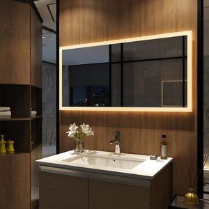 LED Badspiegel 120x60cm Badspiegel mit Beleuchtung Warmweiß Lichtspiegel Badezimmerspiegel Wandspiegel IP44 energiesparend Meykoers