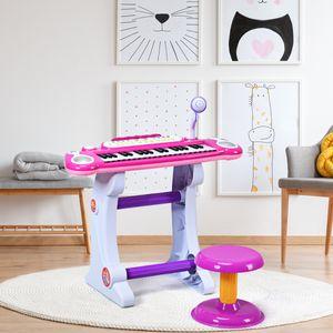 COSTWAY 37 Tasten Klaviertastatur mit Hocker, Kinder Keyboard mit Ständer, Klavier Spielzeug elektronisch, Musikinstrument mit Lichter, Aufnahme- und Abspiel-Funktion, inkl. Mikrofon Rosa