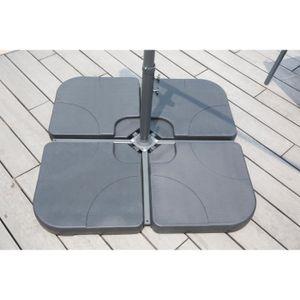 4er Set Fliesen 15 L mit Ballast für Sonnenschirm - 50 x 50 x 7 cm - HDPE - Schwarz