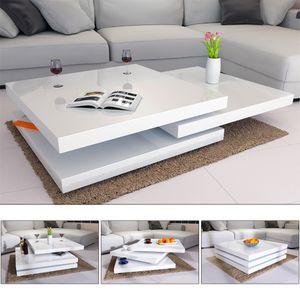 Deuba Couchtisch Hochglanz weiß 360° drehbar Cube Design, Wohnzimmertisch Beistelltisch Design Lounge Tisch Sofatisch