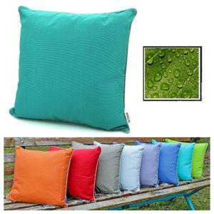 heimtexland ® OUTDOOR Lounge Dekokissen LOTUS EFFEKT 45x45 Garten Kissen Outdoorkissen Typ551 Türkis