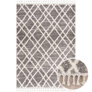 Teppich Wohnzimmer Shaggy Grau Creme Raute Muster Deko Schlafzimmer Hochflor mit Fransen Flauschig, Teppich Größen:160 x 230 cm
