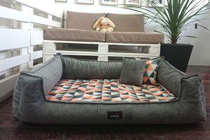 tierlando® Orthopädisches Hundebett VELVET   L 110 cm  samtig weicher Chenille   Graphit-Orange   VEL4-0218