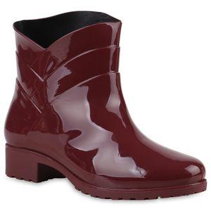 Mytrendshoe Damen Gummistiefel Profil Sohle Stiefel Regen Schuhe 812771, Farbe: Dunkelrot, Größe: 38