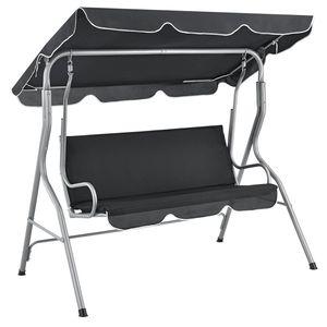 Juskys Hollywoodschaukel 3-Sitzer mit Dach & Sitzauflage – Gartenschaukel 200 kg belastbar – Schaukelbank für Garten & Terrasse - Grau