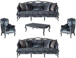 Casa Padrino Luxus Barock Wohnzimmer Set Grau / Blau / Grau - 2 Sofas & 2 Sessel & 1 Couchtisch - Prunkvolle Wohnzimmer Möbel im Barockstil