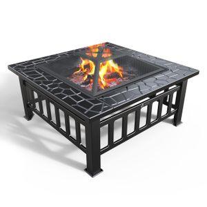VOUNOT Feuerstelle mit Grillrost, 3 in 1 Feuerschale für BBQ, Heizung, Eiskübel