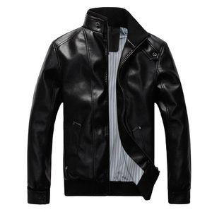 Herrenmode Vintage Biker Motorrad Leder Reißverschluss Jackenmantel Größe:XL,Farbe:Schwarz