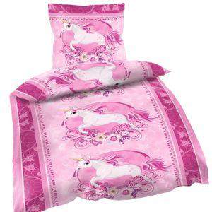 2 tlg Bettwäsche 135 x 200 cm Einhorn rosa Unicorn Microfaser Garnitur