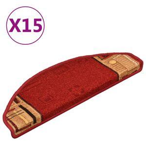 vidaXL Treppenmatten Selbstklebend 15 Stk. Rot 65x21x4 cmStufenmatten