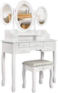 Meerveil Schminktisch, Kosmetiktisch mit Hocker, 3 Spiegel und 7 Schubladen, Frisiertisch, Frisierkommode,weiß