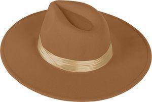 styleBREAKER Damen Hut mit breiter Krempe und breitem glänzenden Zierband, Einfarbig, Kopfteil mit Falte 04025025, Farbe:Braun