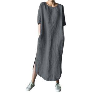 Mode Frauen einfarbige Baumwolle und Leinen Langarm O-Neck Fold Casual Dress Größe:XXL,Farbe:Dunkelgrau