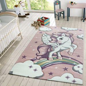 Kinder Teppich Moderner Spielteppich Einhorn Sternen Design Mit Wolken Rosa, Größe:80x150 cm