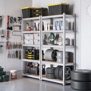 SONGMICS Lagerregal mit 5 Regalböden, 200 x 100 x 50 cm, bis 875 kg belastbar (175 kg pro Ablage), Schwerlastregal, höhenverstellbare Ablagen, verstärktes Stahlgestell, silbern GLR050E01
