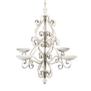Kerzenkronleuchter COTTAGE antik weiß Metall 4-armig Kerzenleuchter shabby chic