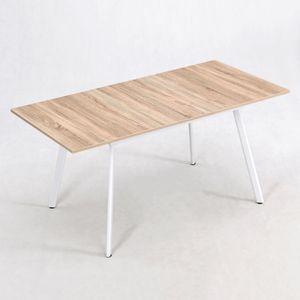 B&D home® Esstisch ausziehbar 160x80 Sonoma Eiche weiß skandinavisch schmal dining table