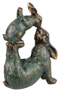 dekojohnson xxl Deko-Hase Hasenpaar Hasengruppe Mutter Kind Osterhase Gartenfigur Gartendeko Osterdeko Deko-Figur bronze-antik liegend küssend 30cm