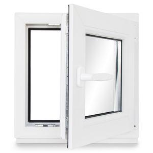 Neruli Kellerfenster Kunststoff Weiß Dreh-Kipp Glasdichtungen Schwarz, 2-fach verglast, DIN Rechts, 80x80 cm