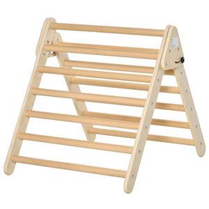 HOMCOM Kletterdreieck aus Holz faltbares KletterDreieck für Kinder und Baby 3-6 Jahre Indoor Sprossendreieck Natur 85,4 x 69,5 x 75 cm