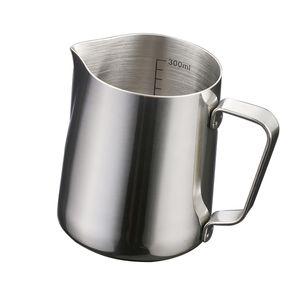 Küche Edelstahl Kaffeeschaum Milch Tee Latte Krug Mit Skala 350ml Silber Modern Kaffeekanne Solide
