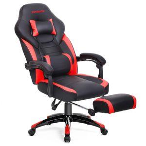 SONGMICS Bürostuhl | Schreibtischstuhl | Cheffsessel | Racing Stuhl | bis zu 150 kg belastbar | ergonomisches Design | schwarz-rot OBG77BR