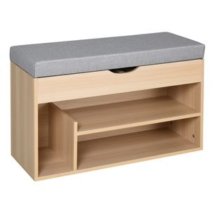 HOMCOM Schuhbank, Sitzbank, Sitztruhe, 2-in-1 Design mit Schuhregal, Versteckten Fach, Leinen, Natur+Grau, 80 × 30 × 48 cm