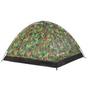Campingzelt 3 Personen-Zelt mit Moskitonetz 1 Kammer Fiberglas Gestell Lüfter