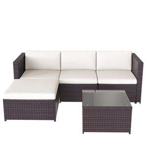 5-teilig Polyrattan Garten-Sofagarnitur, Lounge-Set Gartenmöbel-Set, Ecksofa, Sitzgruppe mit Sofa, Tisch, Hocker und Sitzbezüge, Braun
