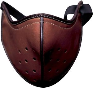 Herren Motorrad Maske Halstuch Winter Warm Atmungsaktiv Leder Waschbar Mund und Nasenschutz(Braun)