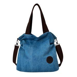1 x Canvas Handtasche  Farbe Blau